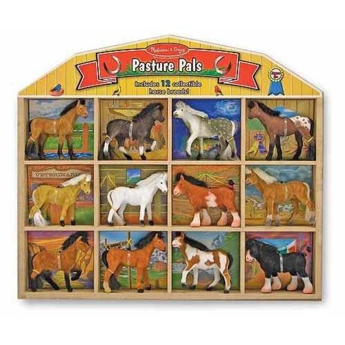 12 sametových koní v dřevěném boxu