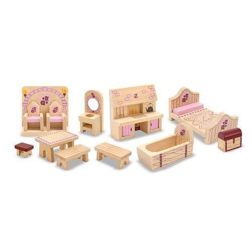 Dřevěný nábytek pro růžový hrad