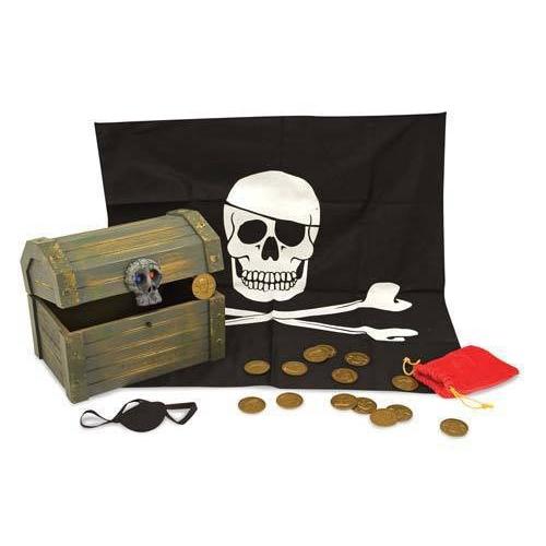 dřevěná pirátská truhla s pokladem
