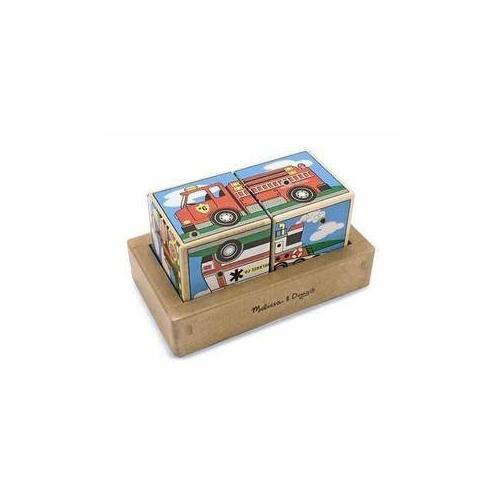Dřevěné kostky se zvuky-Auta